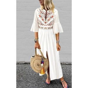 White Floral Printed Maxi Dress